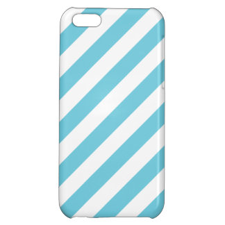 Blue and White Diagonal Stripes Pattern iPhone 5C Case