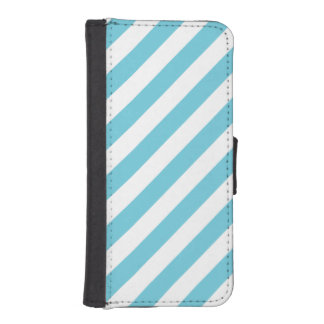 Blue and White Diagonal Stripes Pattern iPhone SE/5/5s Wallet Case