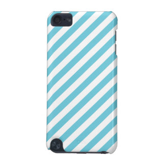 Blue and White Diagonal Stripes Pattern iPod Touch (5th Generation) Cases