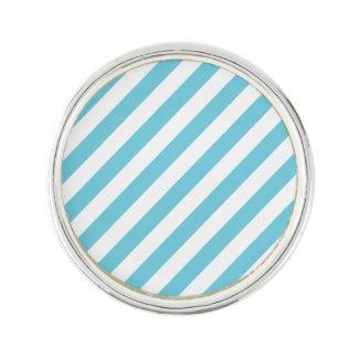 Blue and White Diagonal Stripes Pattern Lapel Pin