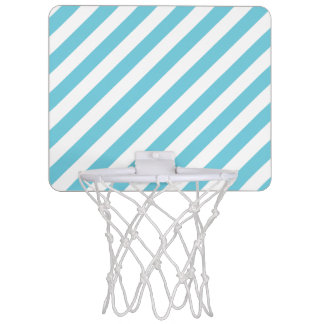Blue and White Diagonal Stripes Pattern Mini Basketball Hoop