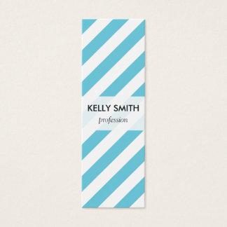 Blue and White Diagonal Stripes Pattern Mini Business Card