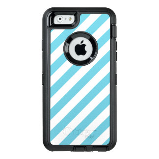 Blue and White Diagonal Stripes Pattern OtterBox Defender iPhone Case