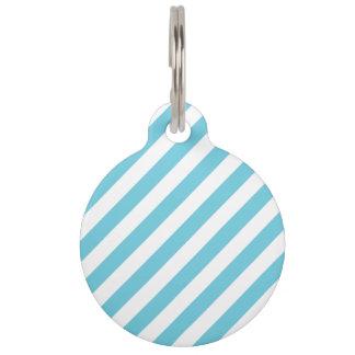 Blue and White Diagonal Stripes Pattern Pet Tag