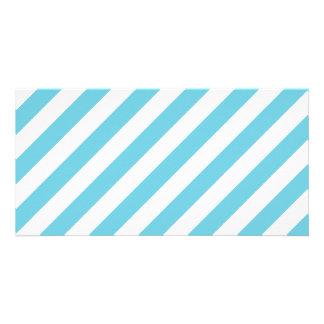 Blue and White Diagonal Stripes Pattern Photo Card