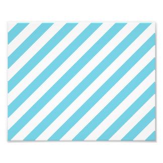 Blue and White Diagonal Stripes Pattern Photo Print