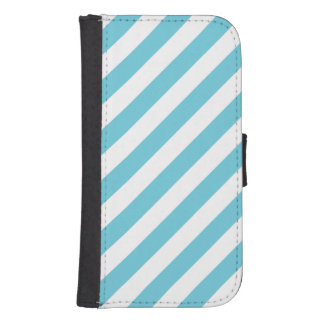 Blue and White Diagonal Stripes Pattern Samsung S4 Wallet Case