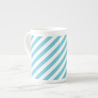 Blue and White Diagonal Stripes Pattern Tea Cup