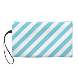 Blue and White Diagonal Stripes Pattern Wristlet