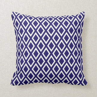 Blue and White Diamond Pattern Throw Pillow