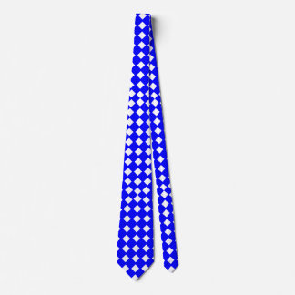 Blue and White Diamond-Patterned Tie