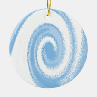 Blue and White Digital Graphic Spiral Wave Ceramic Ornament