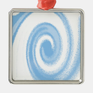 Blue and White Digital Graphic Spiral Wave Metal Ornament