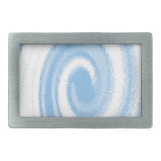 Blue and White Digital Graphic Spiral Wave Rectangular Belt Buckle
