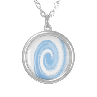 Blue and White Digital Graphic Spiral Wave Silver Plated Necklace