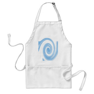 Blue and White Digital Graphic Spiral Wave Standard Apron