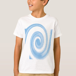 Blue and White Digital Graphic Spiral Wave T-Shirt