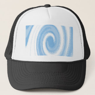 Blue and White Digital Graphic Spiral Wave Trucker Hat