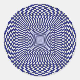 Blue and White Distorted Checkered Pattern Round Sticker
