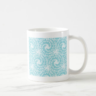 Blue and White Doodle Swirl Coffee Mugs