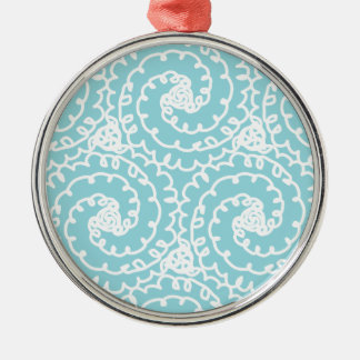 Blue and White Doodle Swirl Silver-Colored Round Decoration