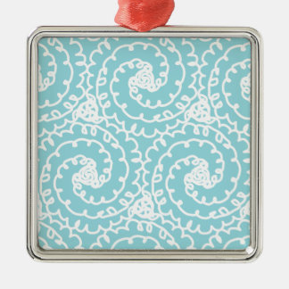 Blue and White Doodle Swirl Silver-Colored Square Decoration