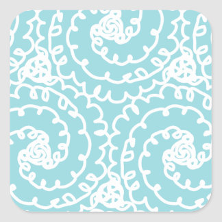 Blue and White Doodle Swirl Square Sticker
