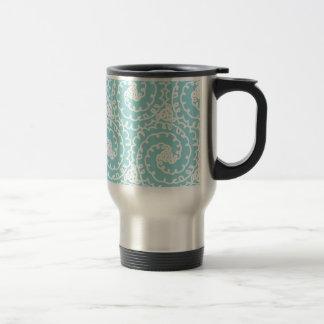 Blue and White Doodle Swirl Travel Mug
