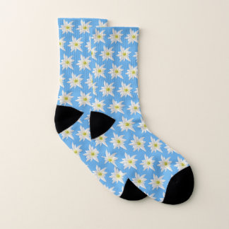 Blue and White Edelweiss Flower Pattern Socks