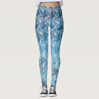 Blue and White Egyptian Stork Leggings