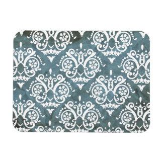 Blue and White Elegant Damask Rectangular Photo Magnet