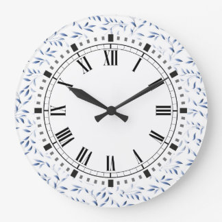 Blue and White Elegant Willow Pattern Large Clock