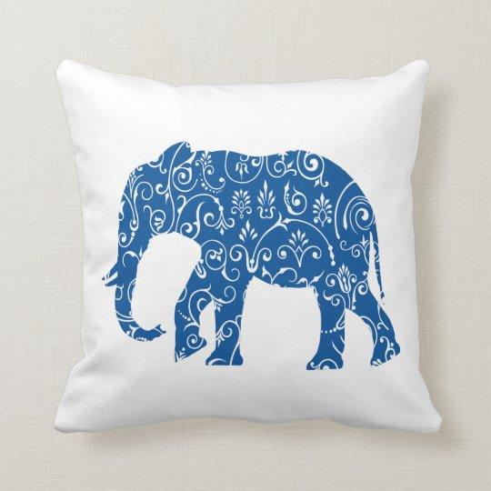 Blue And White Elephant Throw Pillow Zazzle Com Au