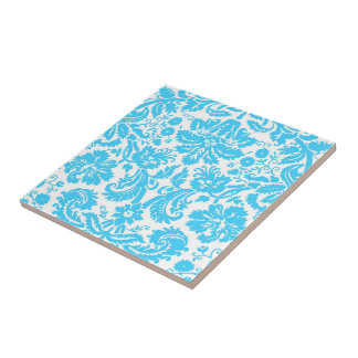 Blue and White Fancy Damask Patterned Tile
