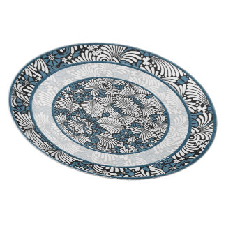 Blue and White Fern Leaf Dinner Plate