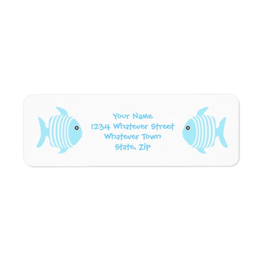Blue And White Fish Return Address Label