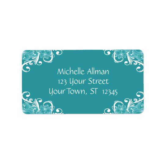 Blue and White Floral Avery Label