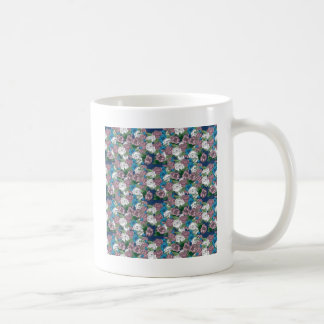 Blue and White Floral Basic White Mug