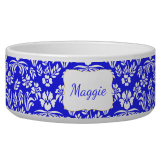 Blue and White Floral Damask Custom Pet Bowl