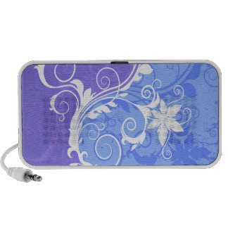Blue and White Floral Grunge Travelling Speaker