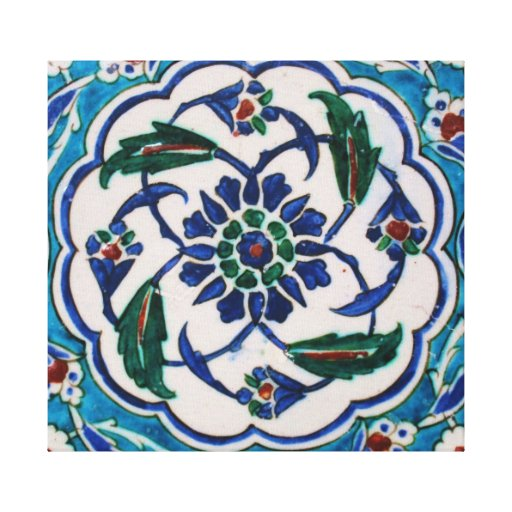 Blue and white floral Ottoman era tile design Canvas Print