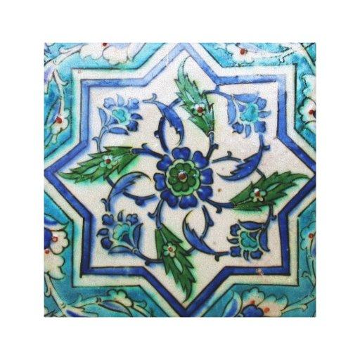 Blue and white floral Ottoman era tile design Canvas Prints