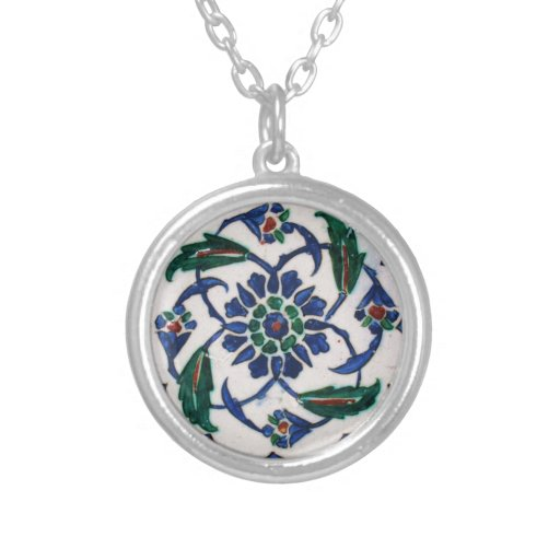 Blue and white floral Ottoman era tile design Custom Necklace