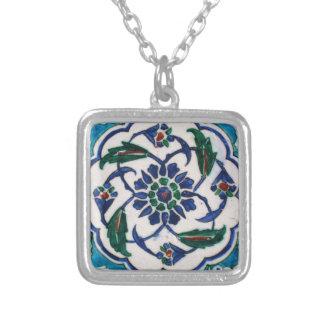 Blue and white floral Ottoman era tile design Pendants