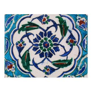 Blue and white floral Ottoman era tile design Postcard