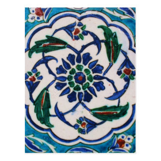 Blue and white floral Ottoman era tile design Postcard