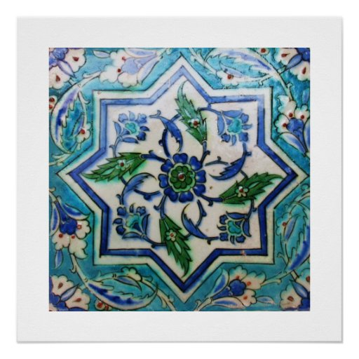 Blue and white floral Ottoman era tile design Perfect Poster