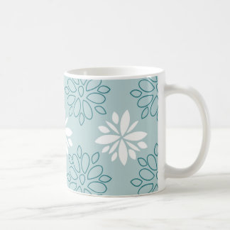 Blue and White Floral Pattern Mugs