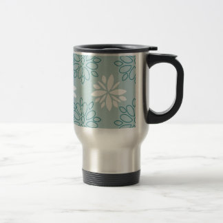 Blue and White Floral Pattern Coffee Mugs