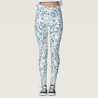 Blue and White Floral Print Leggings